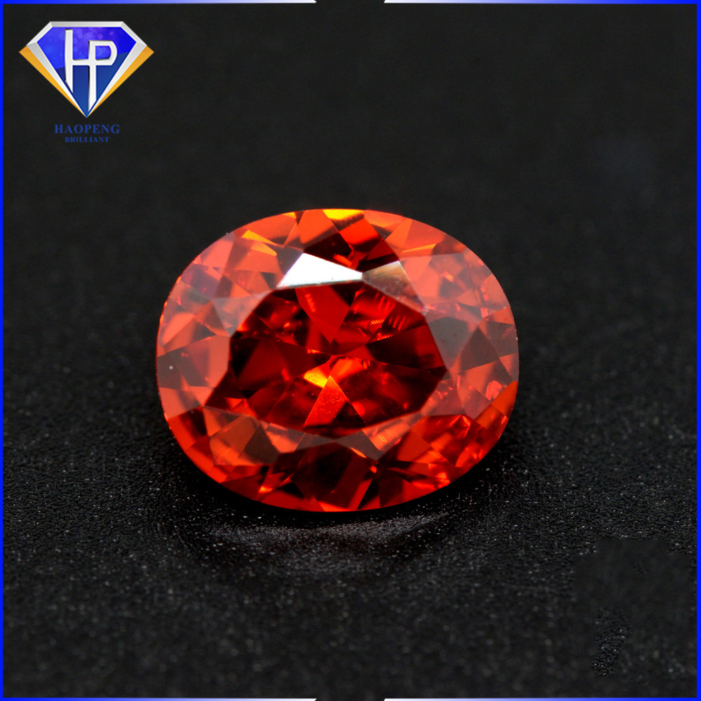 Wholesale Price Orange CZ Oval Cut Cubic Zirconia Stones