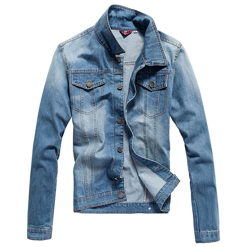 Plus Size XXXXXL New Fashion Brand Men Jeans Jacket,Slim Fit Man Denim Jackets,Spring Autumn Outwear Light Blue Dark Blue Coats