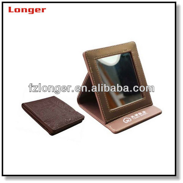 2017 new cheap dressing make up faux leather mirror