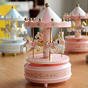 Wooden Merry-Go-Round Musical Box 4-Horse Figurine Rotating Carousel Horse Music Box for Kids Children Home Decoration (Pink-White)