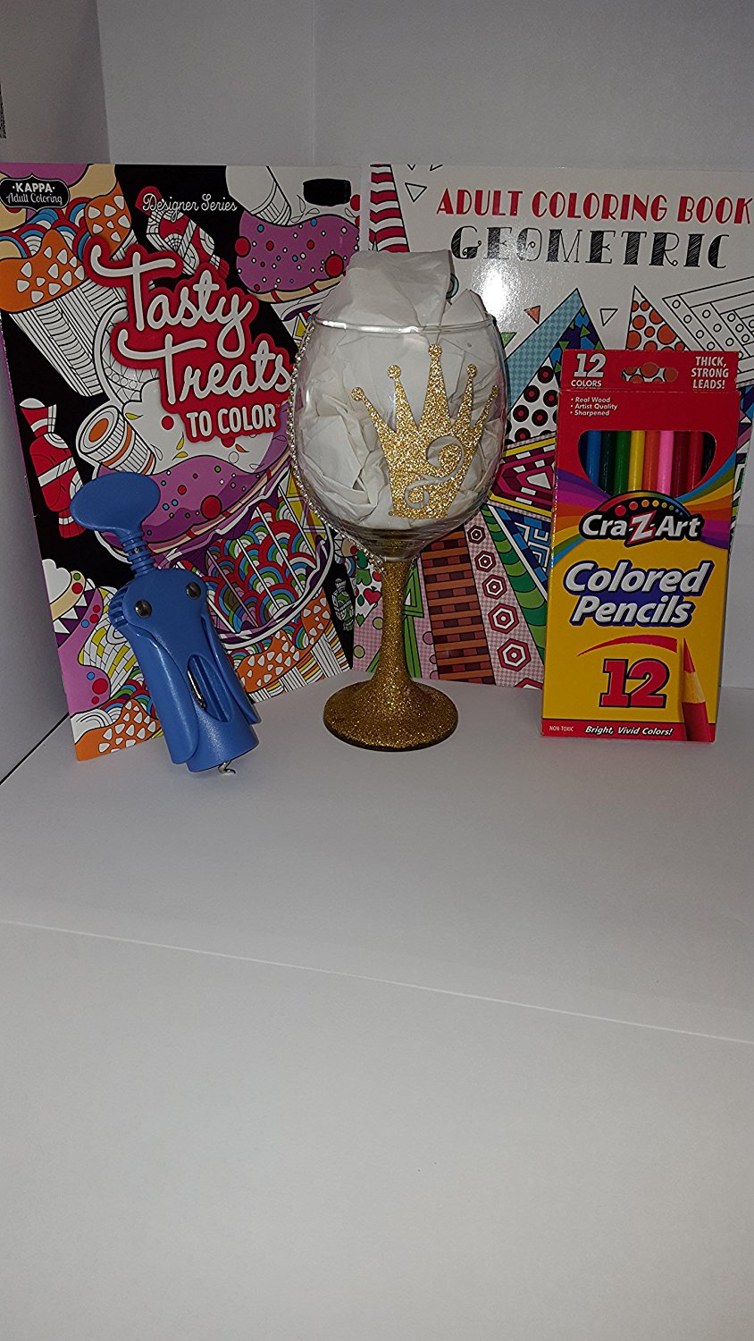 Relax, Calm Your Mind & Relieve Stress Bundle Gift Set: Gold Wine Glass (Queen Of Everything), Wing Corkscrew Wine Opener, 2 Adult Coloring Books & 12 Per-Sharpened Color Pencils