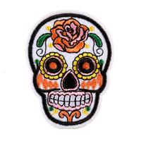 High Quality Cool Skull rose DIY Embroidered Sew-on Embroidery Patch for Clothes for Biker Clothing patch P192-2