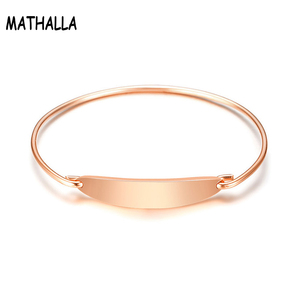 Custom Logo Bar Bangle Stainless Steel Plain Blank Charm Bangle Rose Gold Silver Thin Wire Bangle Bracelet