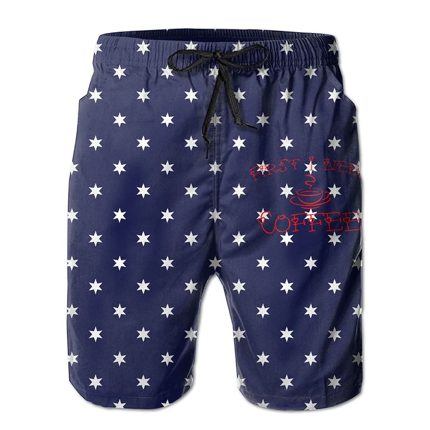 2eeb991186493 Get Quotations · Boyoung First I Need Coffee Vintage Men's Pocket Beach Shorts  Swim Trunks Casual Swim Shorts With