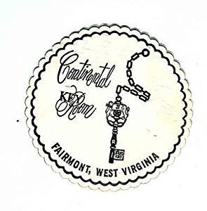 Continental Key Club Drink Coaster Fairmont West Virginia