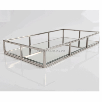Antique Golden Or Silver Color Frame Gl Coffee Table Metal Mirror Vanity Small Tray