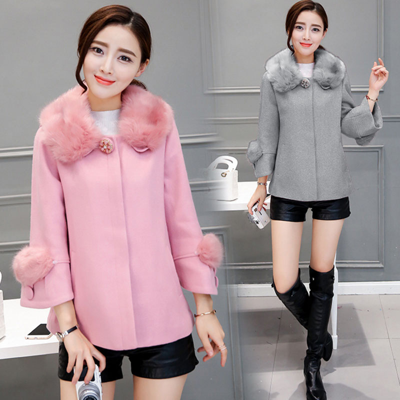WA9299 holesale new short fashion style fur collar womens winter fur coats