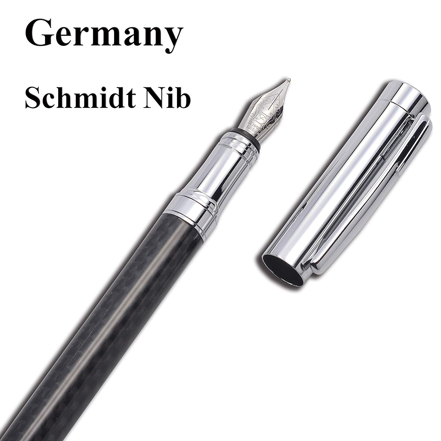 2987875a2171 Get Quotations · LACHIEVA Luxury Carbon Fiber Fountain Pen with Nice Box  Pack Germany Schmidt Nib- Perfect for