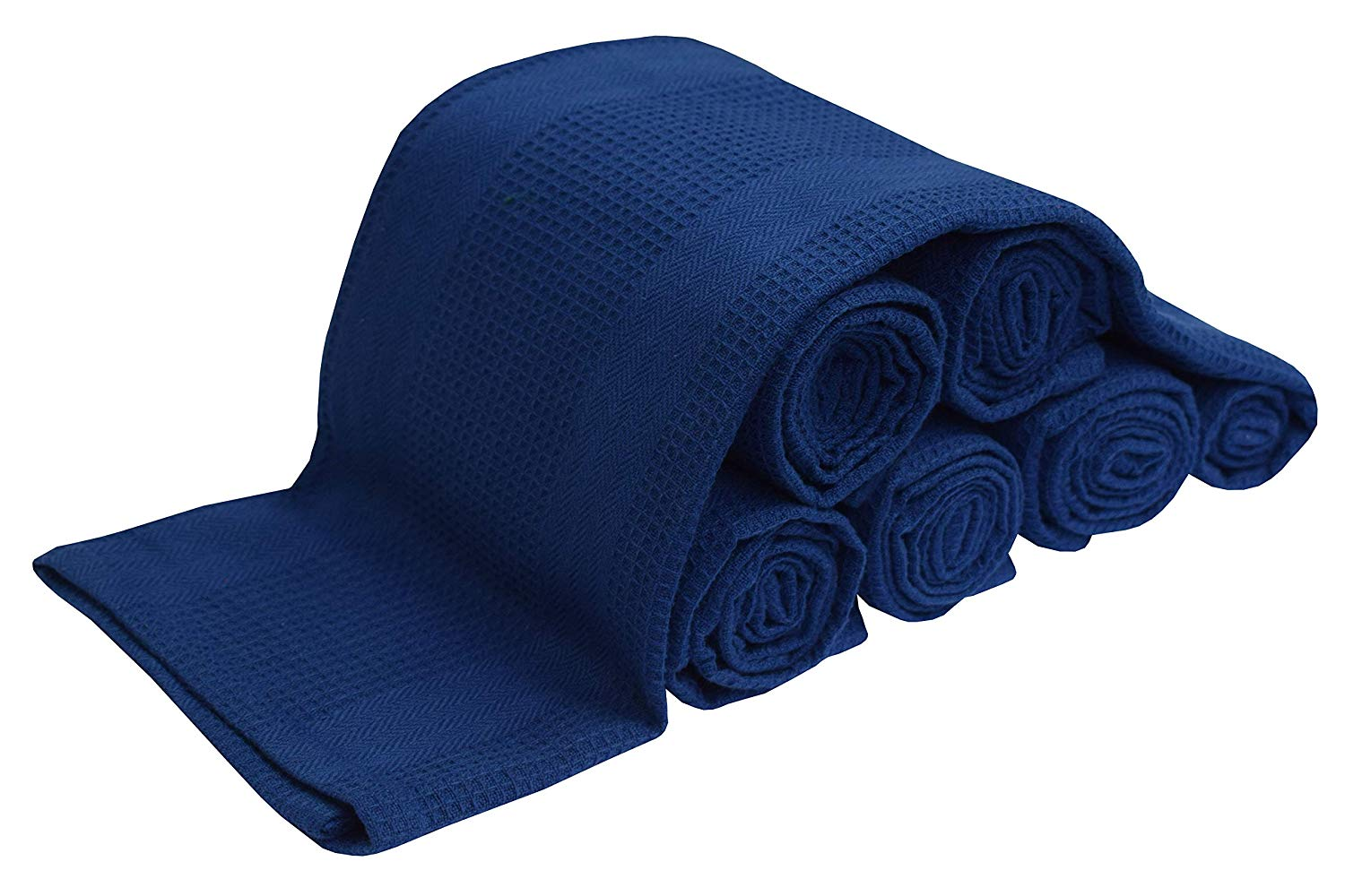 6 Pack Kitchen Towel - Navy - 16x28-100% Cotton - Waffle Weave - Absorbent - Quick Dry - Heavy Duty - Drying & Cleaning Kitchen Towels - Machine Washable