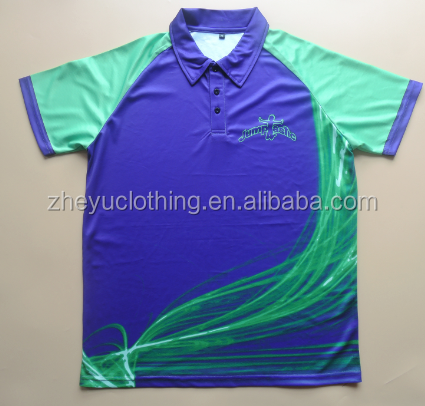 Breathable polyester sports polo apparel custom dye sublimation jersey polo