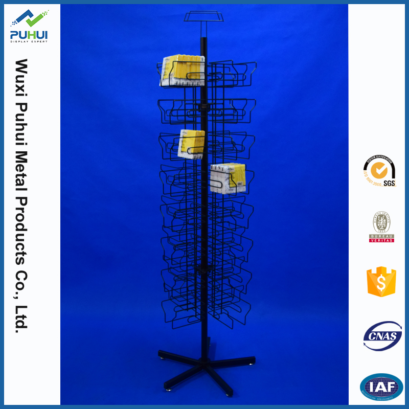 floor standing fixture iron steel wire pocket holder spinning napkin tissue paper metal display rack for retail promotion