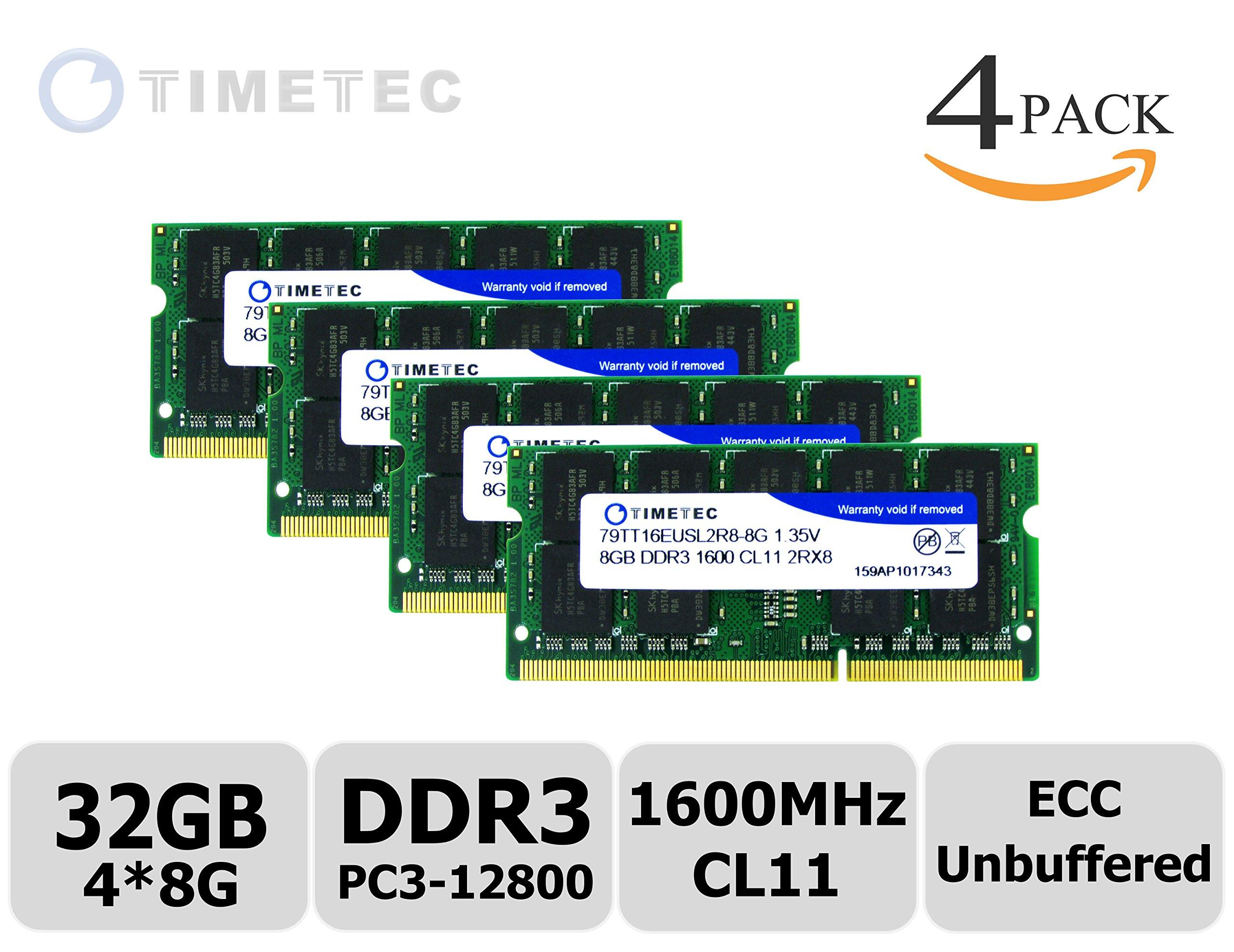 Timetec® (79TT16EUSL2R8-8G) 16GB KIT (2x8GB) DDR3L 1600MHz (PC3-12800) Unbuffered ECC 1.35V CL11 2Rx8 512x8 Dual Rank 204 Pin SODIMM Server Memory Module Upgrade Hynix IC (16GB KIT (2x8GB))