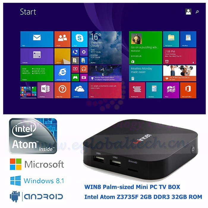 Pocket Car PC 5V/3A Fanless Thin Client WINTEL Intel Atom Z3735F Quad Core Win8/Android TV Box Baytrail Mini PC Computer
