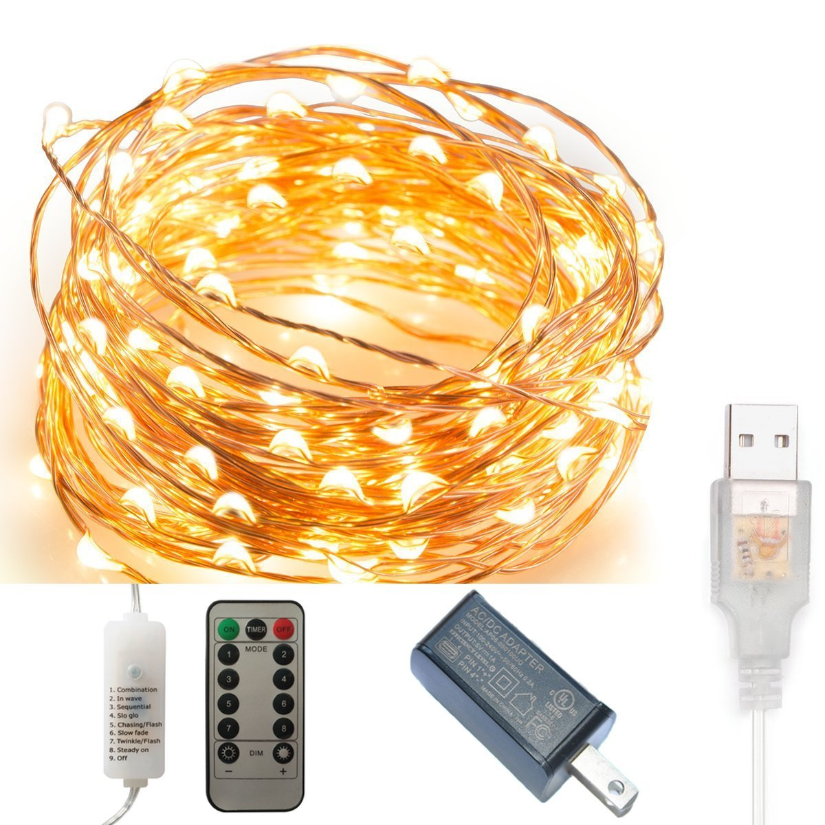 Cheap Low Voltage Outdoor Wire Find Deals How To Lighting Part 3 Get Quotations Remote Timer 100 Led Copper Lights 8 Modes Dimmable Usb