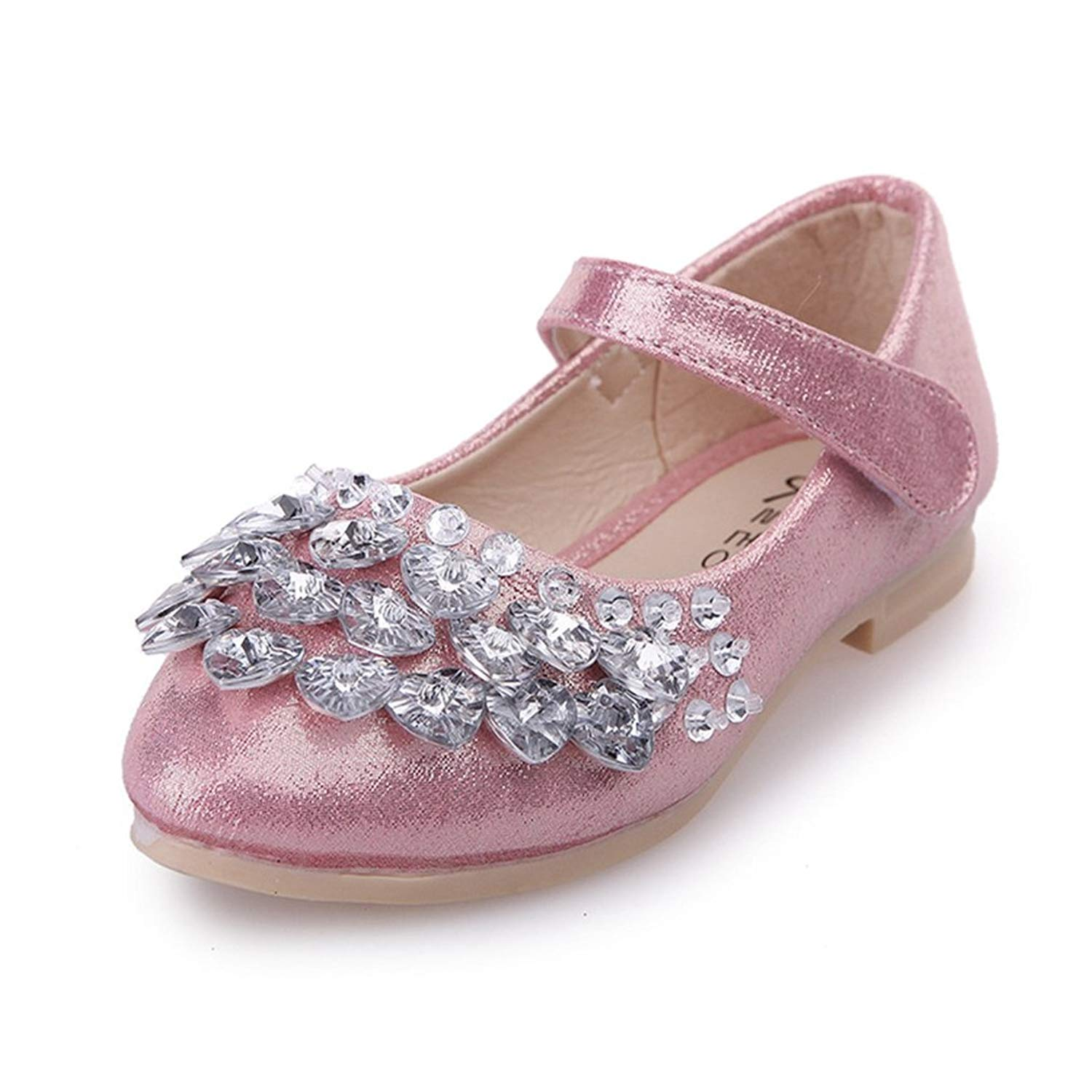 CYBLING Girls Bowknot Wedding Party Low Heel Mary Jane Sequin Princess Dress Shoes
