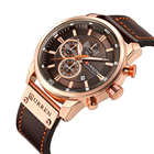 Watch Promotional Watches Promotion Men's Watch Luxury Waterproof Chronograph Watch Military Multifunctional Calendar Brown Leather Strap Quartz Watch