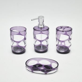 4pcs Simple Dark Purple Color Water Cube Bathroom