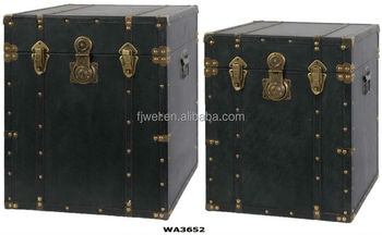 Antique Black Leather Square Trunk Side Tables