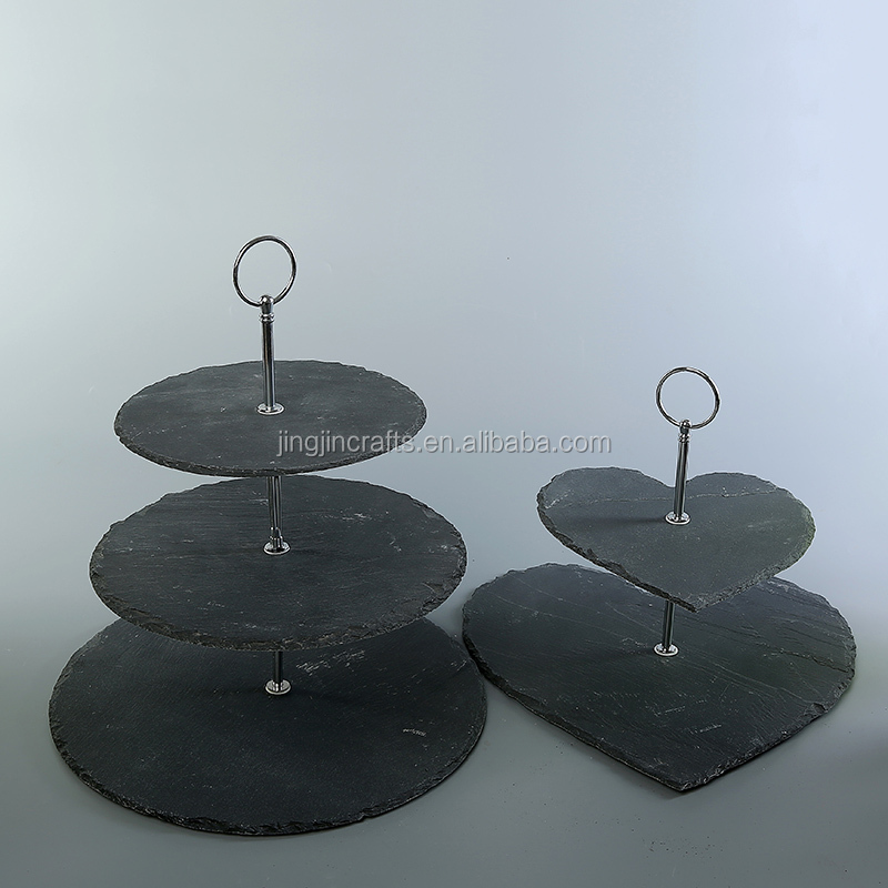rough edge 2 tier,3 tier round,square,heart oval all shapes natural black slate cake stand