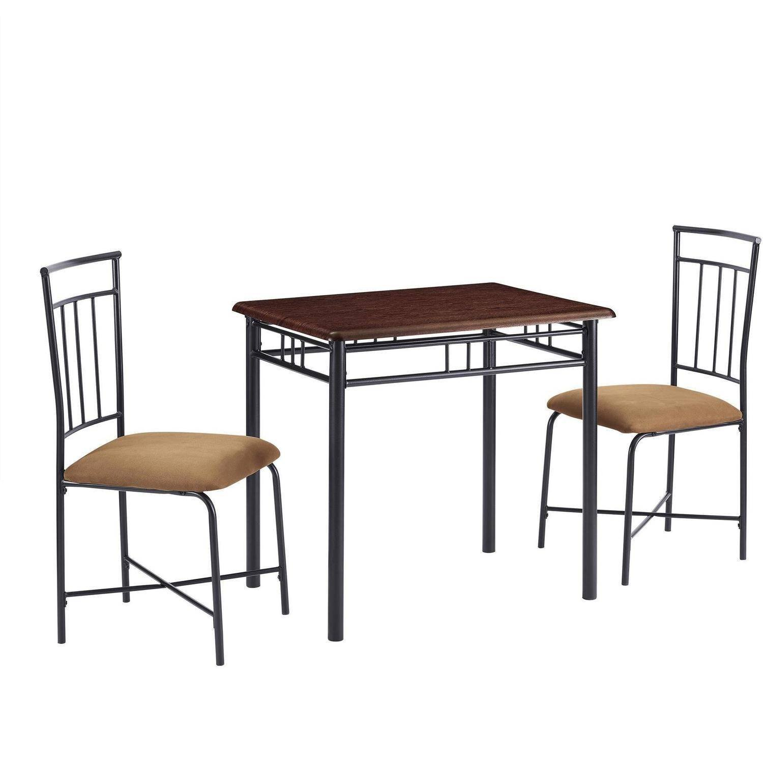 Compact And Stylish 3-Piece Dining Set, Padded Seats for Extra Comfort, Table with an Easy to Clean Deep Walnut Wood Top, Sturdy and Long Lasting Solid Wood And Metal Construction, Walnut Finish
