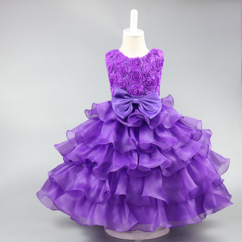 Venta al por mayor vestidos elegantes color morado para niña-Compre ...