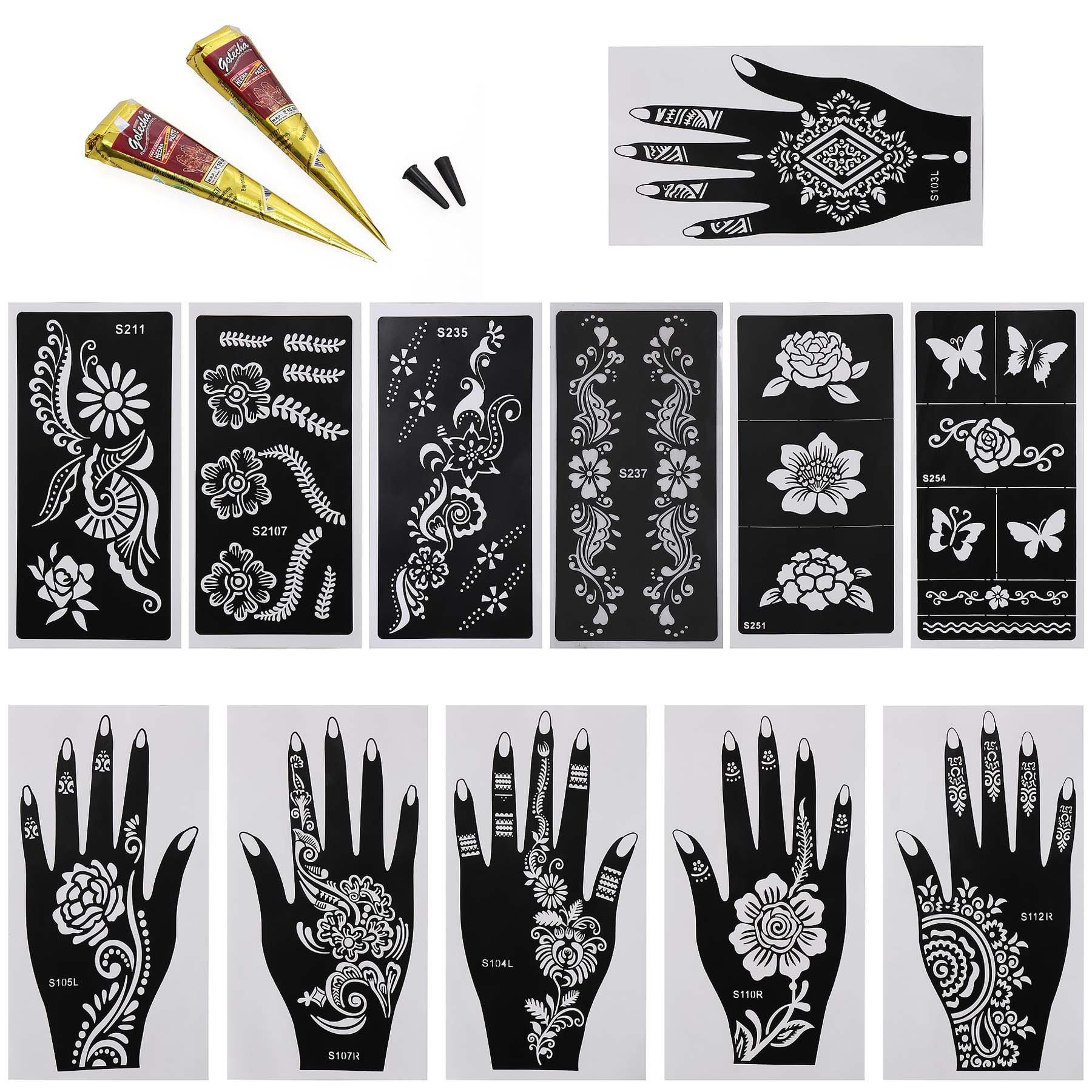 d80a28a57 Get Quotations · BMC 14pc Mehndi Henna Tattoo Body Art Starter Kit - 2  Color Cones w/ 12