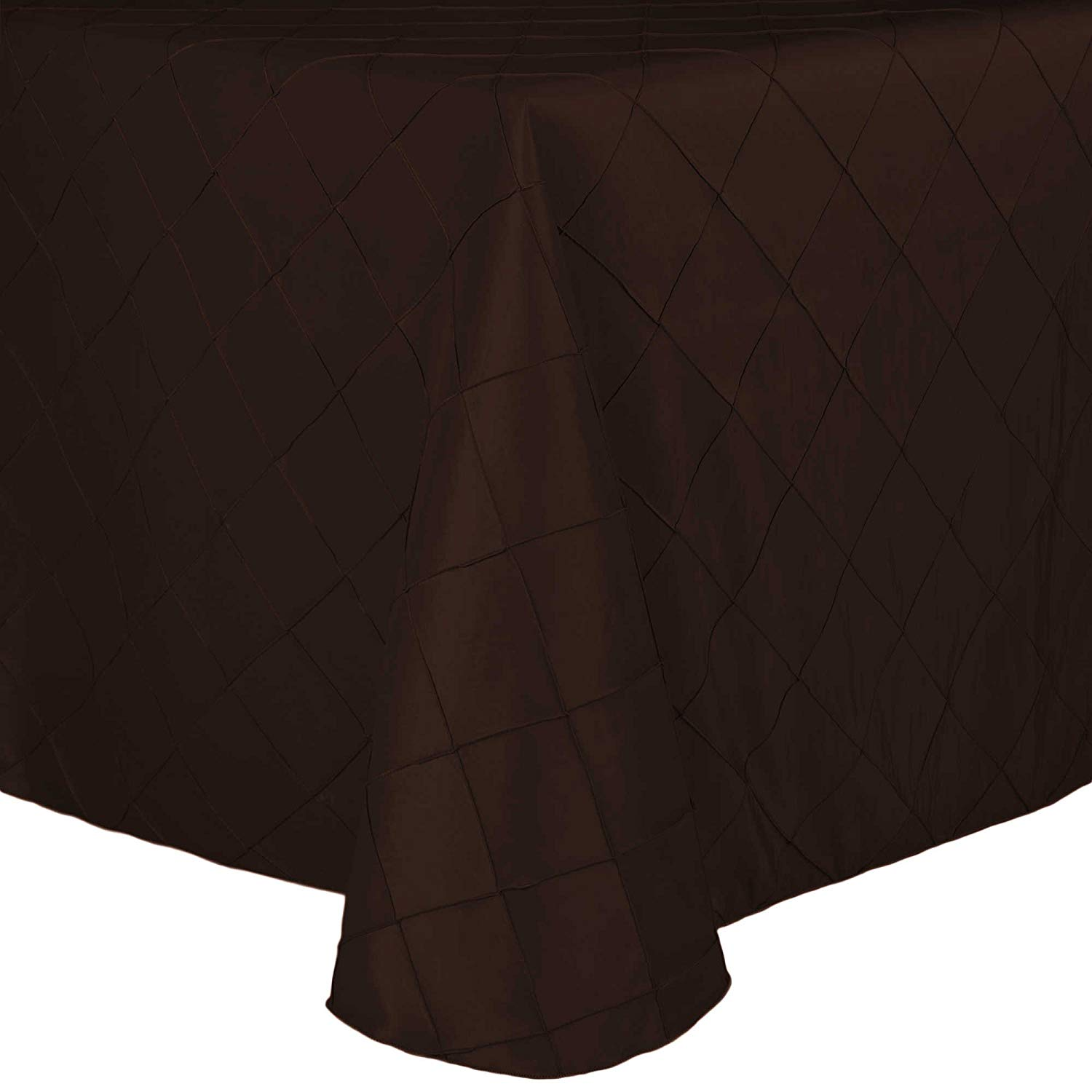 Ultimate Textile (10 Pack) Embroidered Pintuck Taffeta 90 x 132-Inch Rectangle Tablecloth with Rounded Corners Espresso Dark Brown