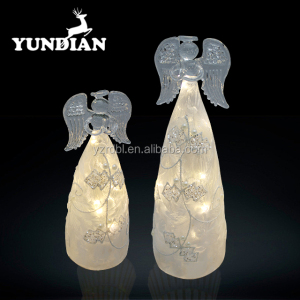 Factory direct sale beautiful decorative christmas craft wholesale light up glass angel