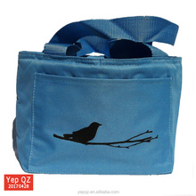 China supplier waterproof portable polyester oxford blue color tote lunch bag small cooler bag