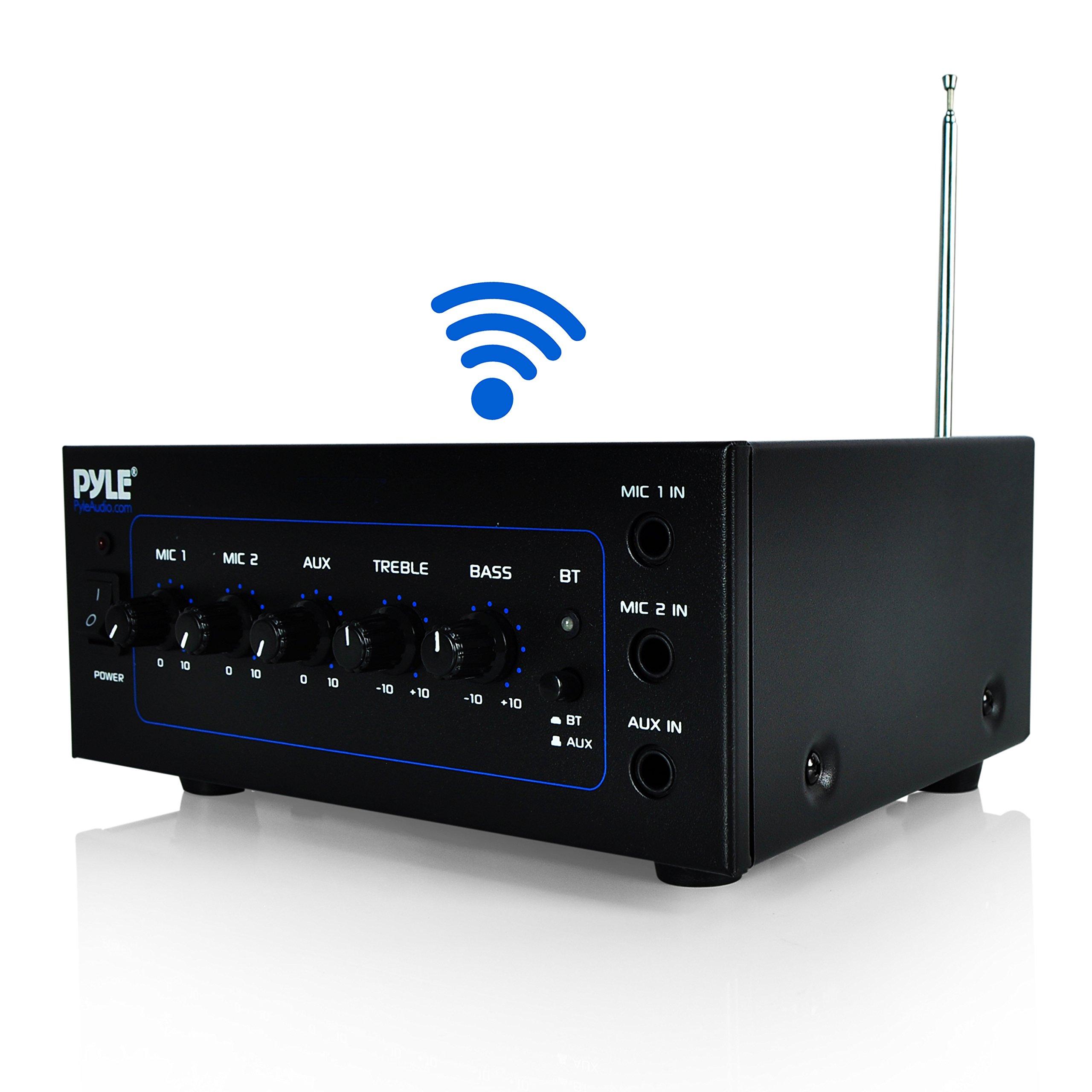 Upgraded Version Pyle Bluetooth Speaker Amplifier   Power Amp W Wireless Streaming   40 Watt W 2 Microphone Inputs   Mic Talkover   Transformers Speaker Output: 25V/70V   DJ Equipment (PCM211BT)