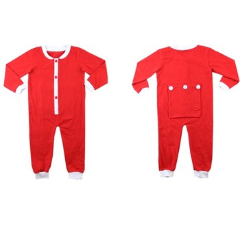 60da339b4 red one piece pajama with butt flap open christmas romper for baby boy