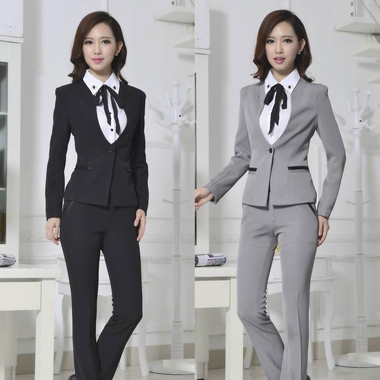 Формальные дамы брючный костюм для женщин деловые костюмы рабочая одежда пиджак комплект женский офис единая дизайн серый бесплатная доставка