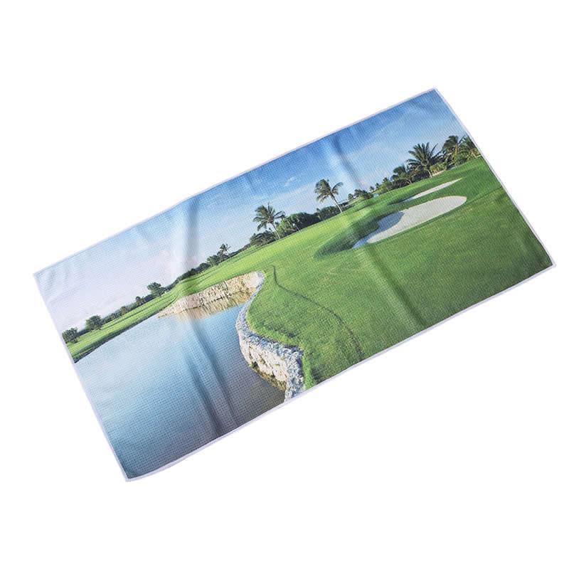 לוגו מותאם אישית מודפס ופל מיקרופייבר מגבת גולף ספורט עם וו