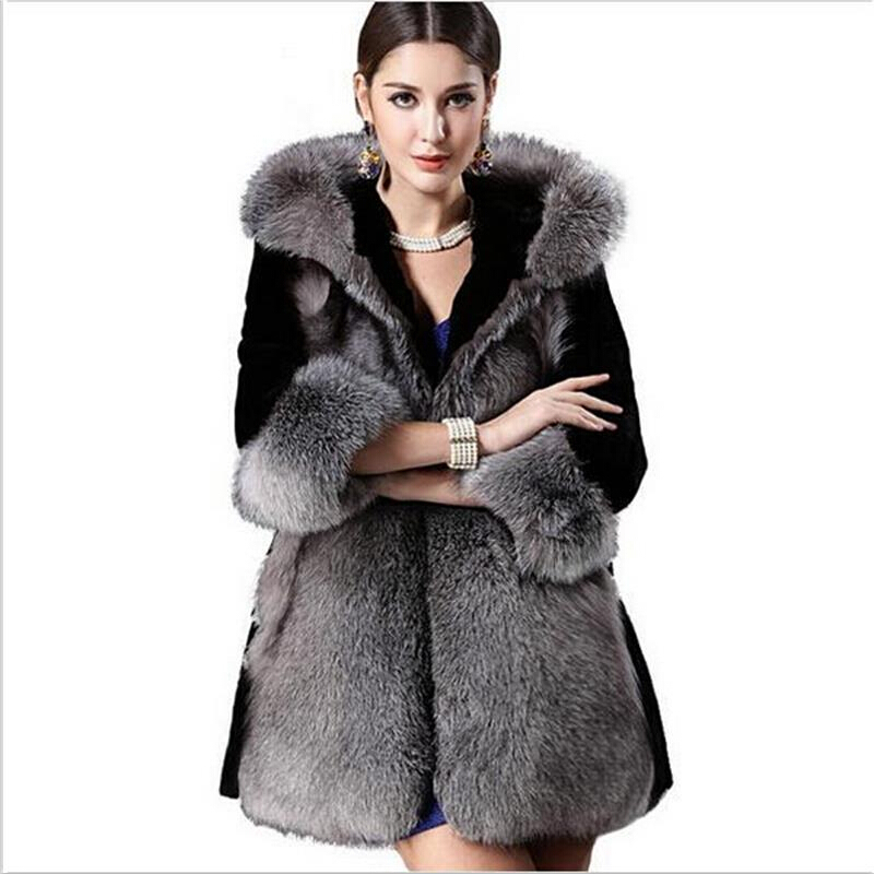2015 Women's fashion high imitation rabbit fur coat fox fur collar and long hooded fur coat plus size S-XXXL, 4XL Coat