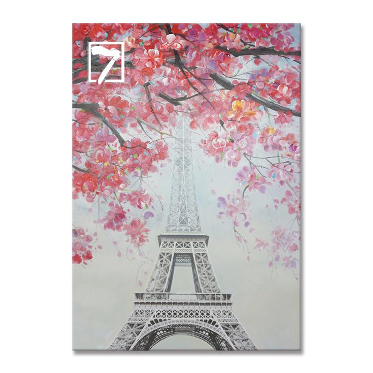 Paris Bahar Akrilik Boya Cicek Kiraz Cicegi Pembe Eyfel Kulesi