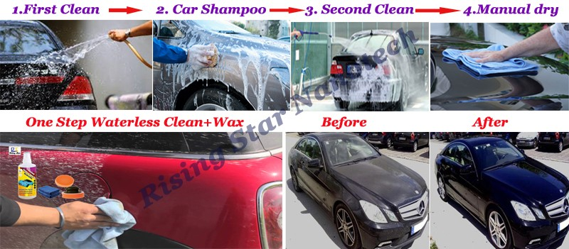 car cleaning and paint care detailing products car shampoo water-less car wash and wax 2 in 1