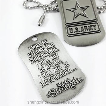 Dog Tag Necklaces for US Army Soldiers Engraved Military Courage Dog TAG  Pendant e71186e4eea