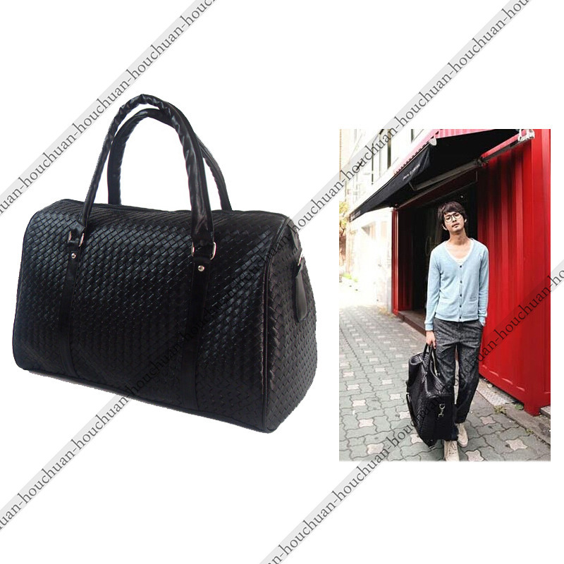 d79ca183cb47 Get Quotations · Hot Sale Fashion Woven Leather Men s Travel Bags Black  Knit Leather Men Duffel bag Women s Travel