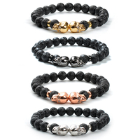 F148 Gifts for boyfriend gifts for dad wholesale beaded volcanic lava stone beads skull simple men bracelet