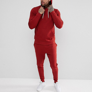 wholesale clothing pullover hoodie and stretch waist sweat pant men plain sports tracksuit