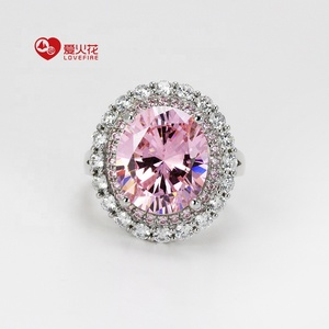AAA cubic zirconia pink diamond oval high quality engagement ring