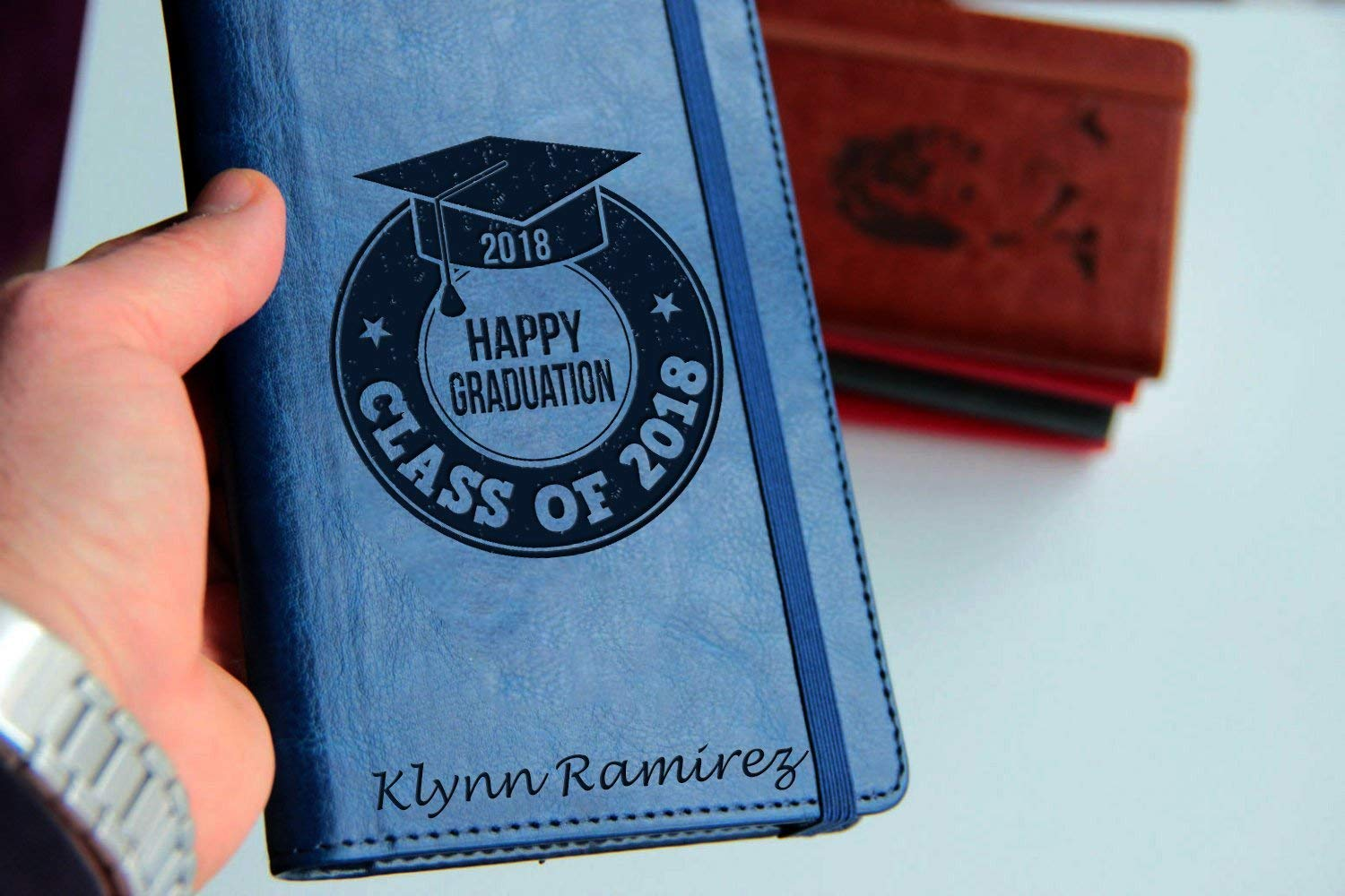 Personalized laser engraved graduation Journal Customizable engraved Journal leather bound, strip with the same color to keep it closed class of 2018