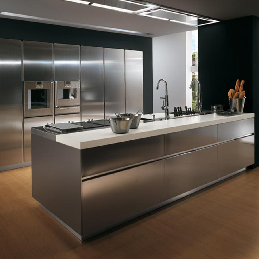 Stainless Steel Dapur Kabinet Dapur Desain Modern Lemari Dapur
