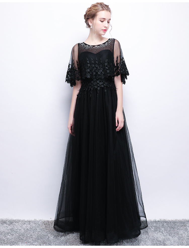 0a1fdf76bffc8 CEEWHY Tassel Black Evening Dress with jacket Wrap A-Line Long Tulle Prom  Dress Mother of the Bridal Dress Formal Evening Gown