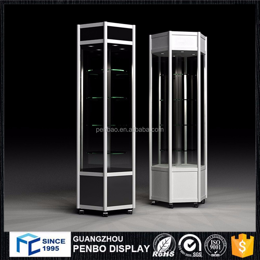 Jewelry cabinet led light shelves glass vitrine display cabinet and showcase