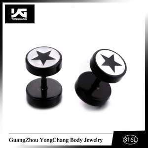 Fashion Cute Stainless Steel Stars Ear Studs Black White Color Stud Earrings for Women Earrings Jewelry For Men Women