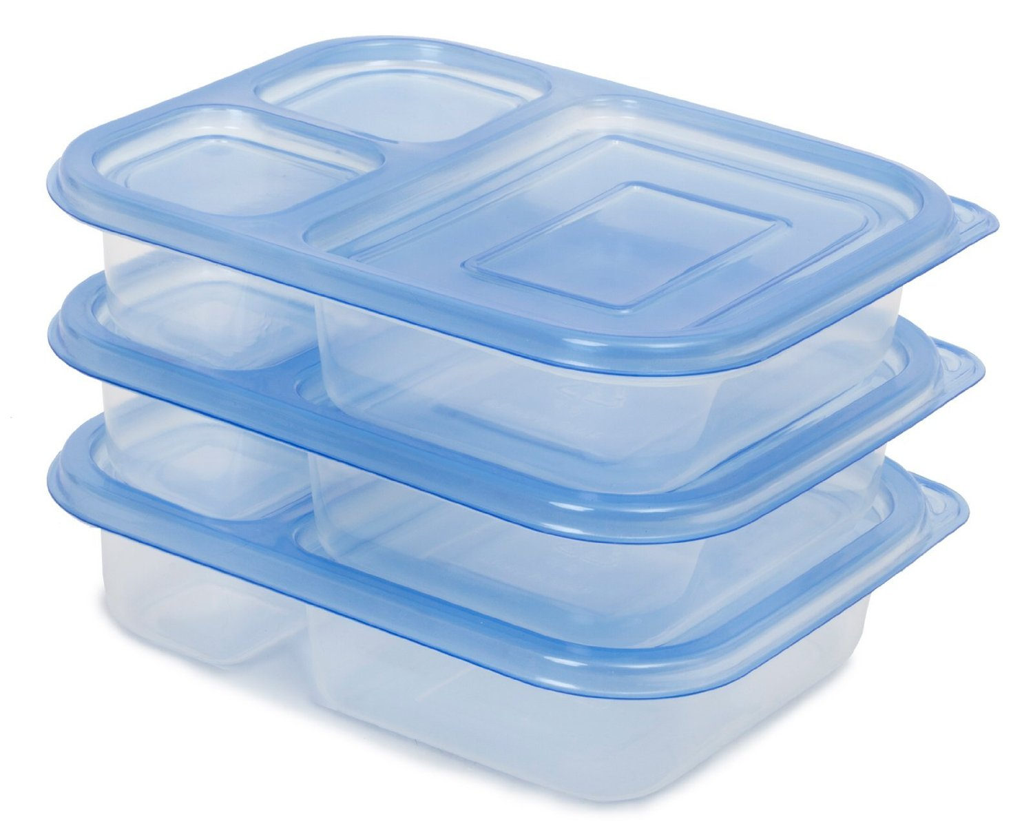 [87% OFF - Sale Ends Jan 31] Lunch Box / Food Storage Container with Lid (NOT Leak-Proof) | FDA-Approved & Food-Safe (BPA- & Phthalate-Free) | Reusable, Microwave-Safe | 3-Compartment, Set of 3