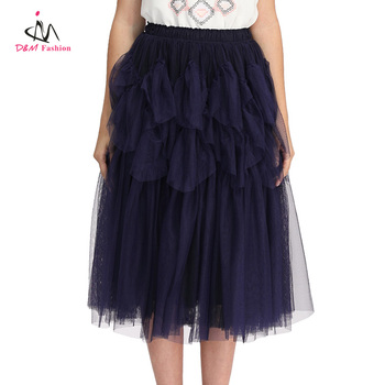 Custom Cheap Stylish Navy Blue Tulle Flowing Layers Elastic Waist Mesh Swing Ruffled Lady Chiffon Wholesale Tulle Skirt Women
