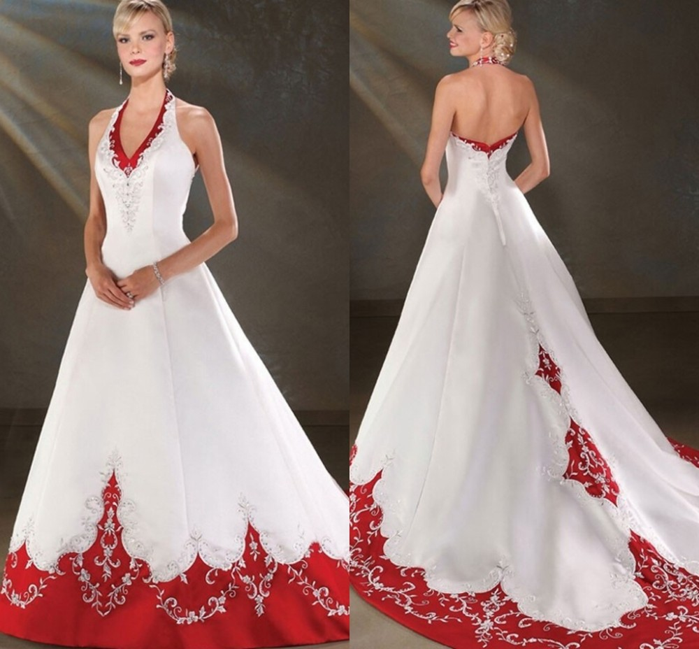 2016 Backless Halter Satin A Line Cheap Red and White ...Backless Halter Wedding Dresses