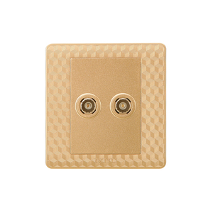 golden color new cable dual electrical tv wall socket with pc material wall plate and cover